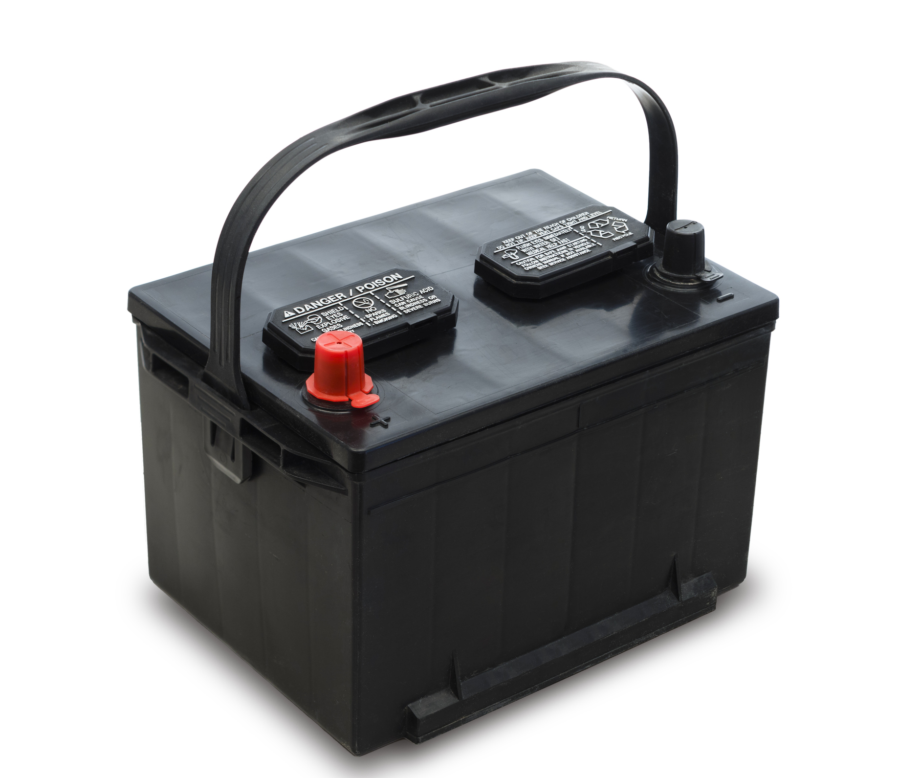 Common 12 volt car battery with installation handle, includes clipping path